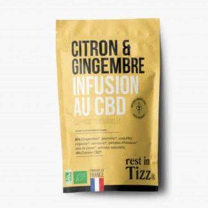 A base de Chanvre BIO Citron Gingembre Détox Infusion au CBD rest in Tizz thén