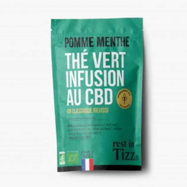A base de Chanvre BIO Thé Vert Pomme Menthe Infusion au CBD rest in Tizz rooibosthé