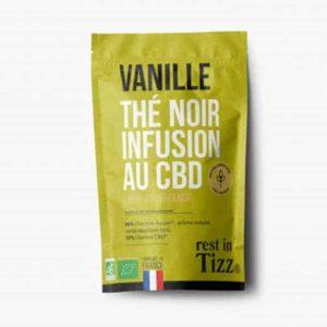 A base de Chanvre BIO Thé Noirt Vanille Infusion au CBD rest in Tizz rooibos