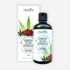 Cosmétique au chanvre huile de massage framboise India Cosmetics